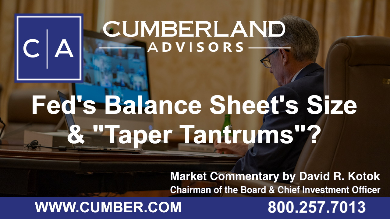 Cumberland Advisors Market Commentary - Fed's Balance Sheet's Size & Taper Tantrums